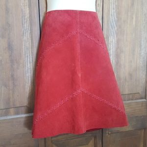 Leather Suede Skirt Fully Lined Crisscross